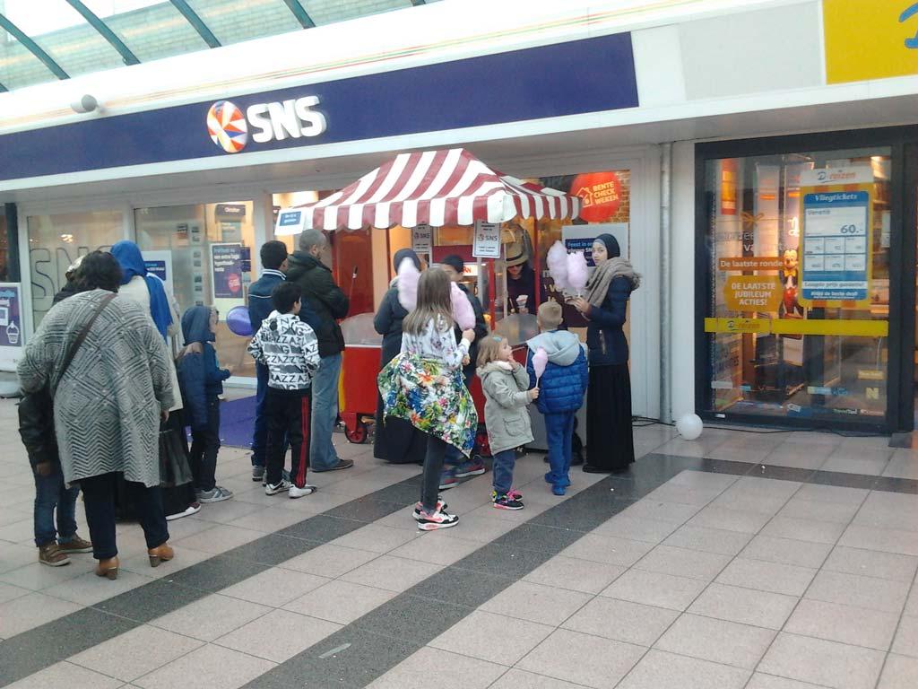 Suikerspin kraam huren winkelcentrum
